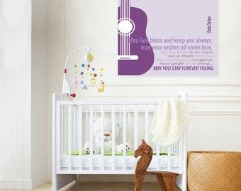 Bob Dylan, Forever Young, Rock and Roll Nursery, Kids Room Purple Giclée Art Print, Classic Rock Artwork, Music Nursery, N-X43-1PS AA1