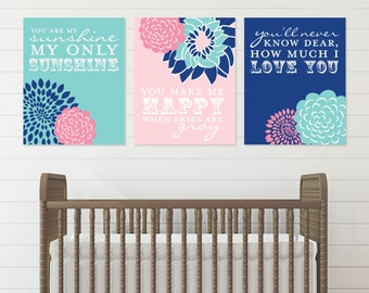 You Are My Sunshine Lyric Art Prints for Nursery or Kids Room // Set of 3 Giclée Art Prints // N-G03-3PS AA1