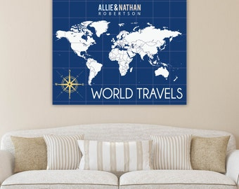 Interactive Travel Map, Family Map, World Map Art, Hanging Wall Decor, Housewarming Gift // Choose Art Print or Canvas// H-I04-1PS AA2