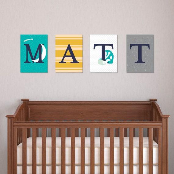 Diy Name Wall Art For Nursery : Nursery wall letters name art set fox star diy
