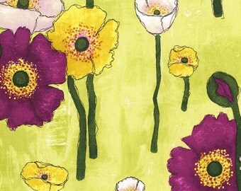 Laura Gunn Fabric Vignette Gathered Poppies in Lime 1/2 Yard