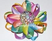 Satin Rainbow Sunburst Double Daisy Hair Clip Brooch Flower Loop Bow Brooch Rhinestone Multicolor Button Ombre Ribbon Pastel Easter Pin