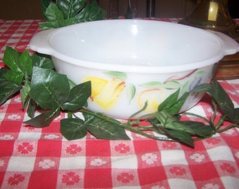 """Vintage Fire King, Fireking, Casserole Bowl by Anchor Hocking Featuring Pear, Peach, Grapes, 8"""" Diamter, 1.5 Quart, Made in USA"""