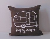 Pillow Cover. Cushion Cover Happy Camper Vintage Trailer  - 12 x 12 inches by Sweetnature Designs - Choose your fabric and ink color