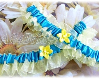Bridal garter set, turquoise and yellow wedding garters, something blue.
