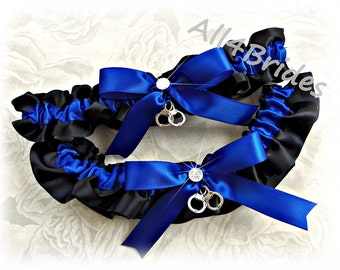 Wedding bridal garter belt set handcuff charms thin blue line police wedding leg garters.