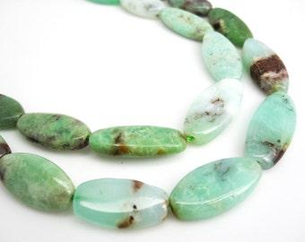 Chrysoprase Beads, Chrysoprase, Oval Shape, Green Gemstone, 13mm x 25mm, SKU 3961A
