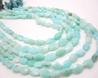 Peruvian Blue Opal Beads, Blue Opal Beads, Faceted Oval, 6mm x 8mm, Aqua Blue, Loveofjewelry, Weddings, Brides Bridal, SKU 4286A