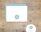 Wedding Thank You Cards . Monogram . Thank You Cards Wedding . Personalized - Thank You Notes - Dotted Monogram
