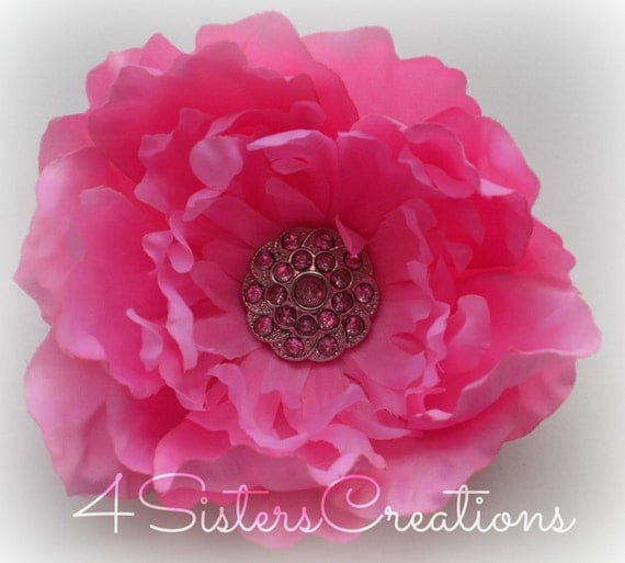 Pink Peony Flower Clip with Custom Pink Pearl and Rhinestone Button Center