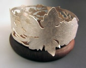 OOAK Sterling Silver Wine Coaster Grapes and Grape Vine on Wooden Base