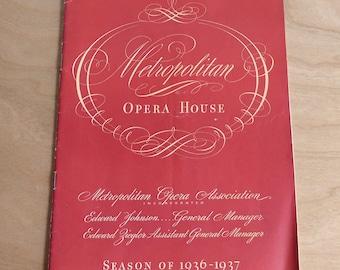 Metropolitan Opera House 1936-37 Grand Opera Season Program