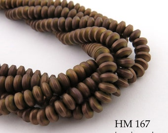 4mm Small Matte Dark Gold Hematite Rondelle Beads 4mm x 2mm (HM 167) Full Strand BlueEchoBeads