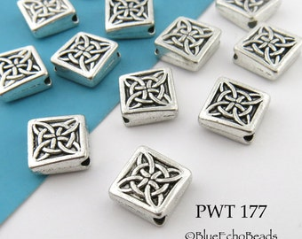 9mm Square Celtic Pewter Bead, Antique Silver (PWT 177) 10 pcs BlueEchoBeads