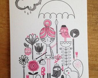 Suzy Ultman Letterpress Drawing in the Rain Card