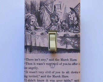 Vintage book page Switchplates w/ MATCHING SCREWS- We're all mad Alice in Wonderland books Alice vintage text sepia text images Alice plates