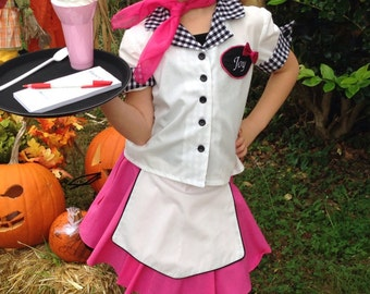 50s Style Car Hop Girls Costume / Made to order / Sizes 3 thru 14/ Dress Up/ Pageant / Halloween/ Trunk / Birthdays