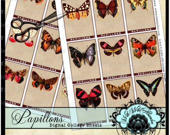 Papillons, Butterfly, French Digital Collage, Tags, Hang Tags, ACEO, ATC, Digital Collage Sheets, Truth Cards