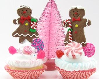 Gingerbread Man and Gingerbread Girl Fake Cupcake Gift Set. Candyland Gingerbread Gumdrop Decor. Secret Santa, Host or Stocking Stuffer Gift