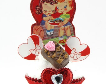 Fake Cupcake with Vintage Valentine Image. Chocolate Lovers w/Candy Boxes & Fake Chocolate. Fab Valentine's Day Gift for Her