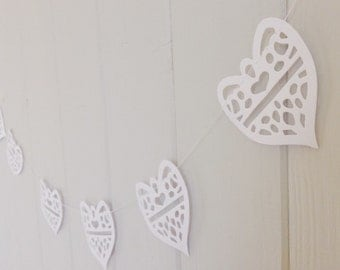 Wedding Garland, Heart Garland, White Wedding Garland, Lace Hearts, Paper Decoration, bridal shower, rehearsal dinner, Wedding Decor