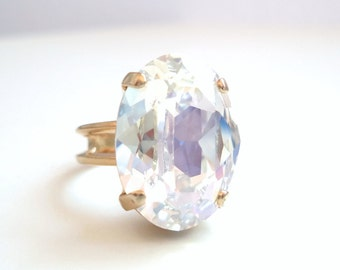 Moonlight Oval Crystal Cocktail Ring  - Crystal Ring - Moonlight Crystal