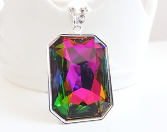 Large Rainbow Crystal Pendant - Vitral Crystal Necklace - Emerald Octagon - created with SWAROVSKI® Crystals