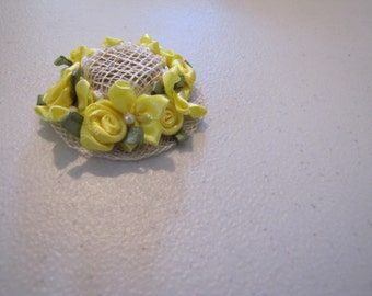 Victorian dollhouse doll hat with yellow silk roses and bows with beads