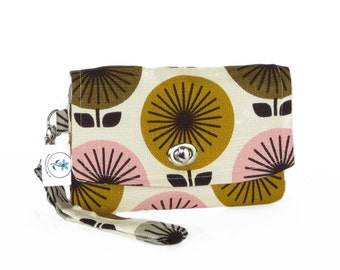 Organic Handmade Mini Clutch - Brown Retro Flowers - Free Shipping