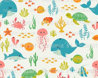Sea Life MLP Exclusive Cotton/Spandex Jersey Knit fabric by the yard