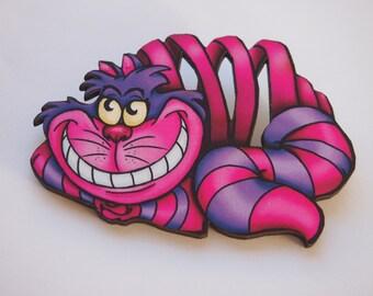 PRE-ORDER Cheshire Cat Alice in Wonderland Laser Cut Wood Brooch