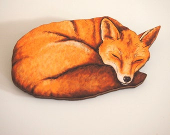 Sleeping Fox Laser Cut Wood Brooch