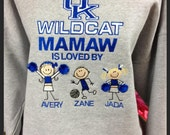 UK Wildcat Grandma Grandpa  sweatshirt custom embroidery