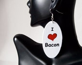I love Bacon oval wood earrings