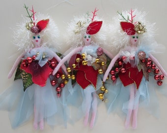 FAERIE ORNIES On Sale, set of 3 fairy soft sculpture dolls, stocking stuffer, Christmas ornaments