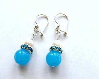 SALE, Turquoise Jade Earrings, OR Hot Pink, OR Lavender, Sterling Silver, Gold Filled, Your Choice, Gift For Her, Ready To Ship