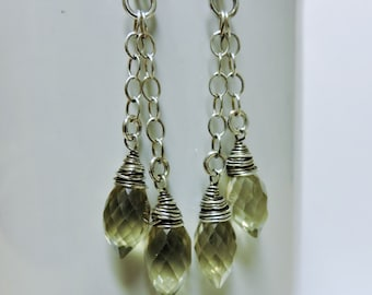Microfaceted Lemon Quartz Drops Wrapped in Silver