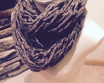 Arm Knit Infinity Scarf- Granite