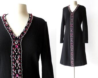 Vintage Beaded Dress | La Marchesa | 1960s Dress | Sweater Dress | S M