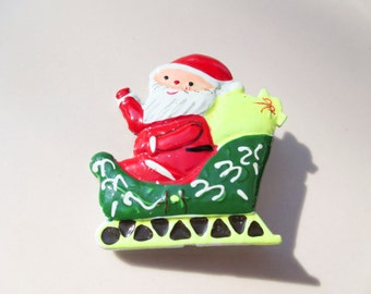 Christmas Santa in a Sleigh Brooch Pin Vintage xmas jewelry