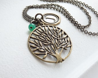 SALE - Vintage Style Tree of Life and Wax Seal Monogram Long Necklace