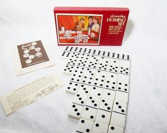 Double Six Dominoes Pleasantime Original Box White Opalene Dominoe Tiles