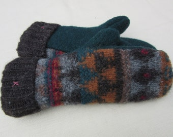 Thick Wool Patterned  Sweater Mittens- Ladies