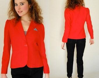 Menswear Blazer Vintage 80s Red Linen Structured Shrunken Fit Boho Indie Blazer Jacket  (s)