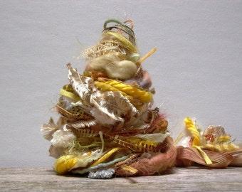 sunflower field fringe effects™  21yds of specialty art yarn bundle fiber embellishment pack . yellow gold mustard