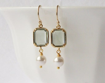 Grey Crystal Pearl Dangle Earrings