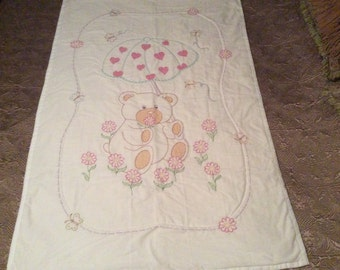 Hand Embroidery & Hand Quilted Umbrella Teddy Bear Quilt