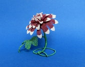 Garnet and Ruby Red Dahlia - French Beaded Flower