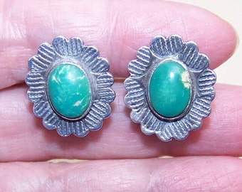 1960s FRED HARVEY Era Sterling Silver & Turquoise Earrings