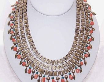 Vintage Triple Strand CHINA SILVER, Coral & Turquoise Fringe Necklace